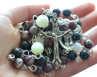 Purple tourmaline and Italian Onyx Rosary