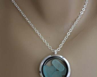 Natural Aquamarine Beach Glass Floating Locket Necklace, Floating 1 Inch Magnetic Locket, Beach Glass Pendant