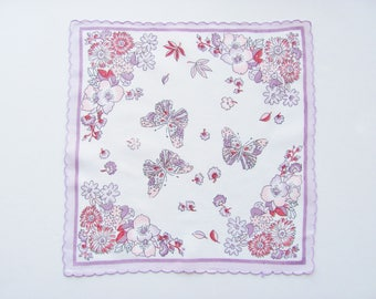 Handkerchief Purple Violet Butterflies And Flowers Printed On White  Square With Scalloped Edge 14 Inches x 14 Inches Weddings