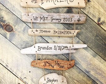 Mother's Day Personalized Gift – Family Tree Timeline Dates Birthdates Custom Gift for Mom, Mother, Wife, reclaimed wood gift, Mother's Day