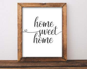Printable Wall Art, Home Sweet Home printable art, Printables quote gallery wall decor entryway decor rustic farmhouse diy sign gift idea