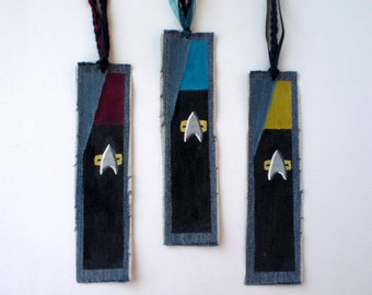 Star Trek Voyager Starfleet Inspired Bookmarks, Eco-Friendly Geek Gift, Trekkie Gift, Denim Bookmark for Him, Science Fiction Fan Gift