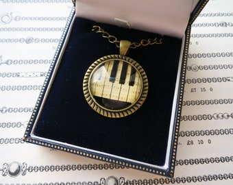 Piano Necklace Glass Dome Cabochon Pendant Music Jewelry Victorian Style Pianist Gift Vintage Inspired Piano Keys Steampunk Accessory