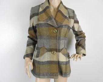Vintage 1950s plaid peacoat jacket coat small 30