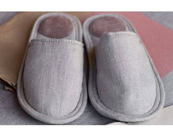Linen slippers, men slippers, natural slippers, men home shoes, light slippers, closed toe slippers, home slippers, men house shoes
