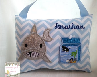 boys toothfairy pillow, tooth fairy pillows shark hanging pillow