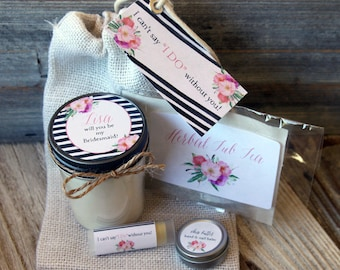 Set of 12 - Will You Be My Bridesmaid Personalized Soy Candle//Large Pint//Personalized Bridesmaid Gift//Matron Of Honor Gift
