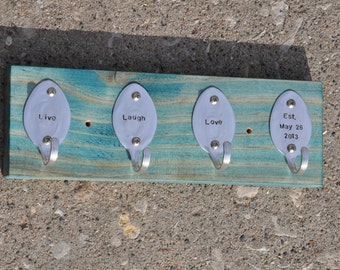 Personalized Rad Spoon Key Rack Recycled Silverware