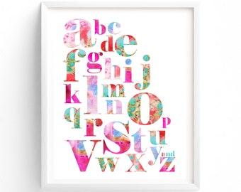 Nursery Art Girl, Alphabet Print, Printable art, Alphabet Wall art, Kids Room Art, Nursery decor,