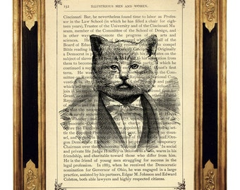 Cat Art Print Gentleman Portrait Poster Nursery Pet Picture - Vintage Victorian Book Page Art Print Steampunk