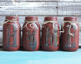 Mason Jar Decor, Hand Painted Mason Jars, Deer Decor, Deer Head Decor, Rustic Decor, Rustic Home Decor, Painted Mason Jars, Mason Jar Set