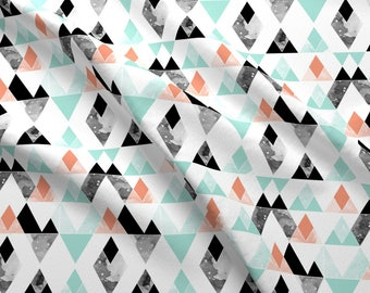 Geometric Fabric - Geo Mountains Mint, Coral, Black By Igotstripes_Studio - Geometric Cotton Fabric By The Yard With Spoonflower