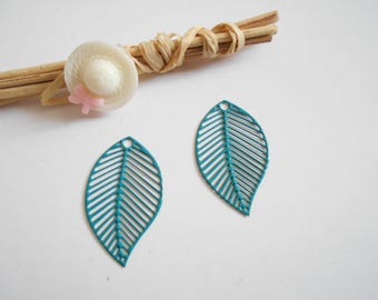 set of 2 prints turquoise enameled leaves