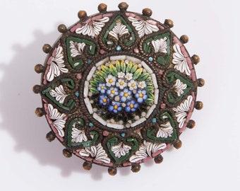 Antique Georgian Victorian Agostino Francescangeli Micro Mosaic Brooch
