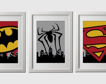 Superhero wall art PRINTS, PRINTED, super hero wall decor, set of 3, 8x10 inch high quality prints, shipped to your door