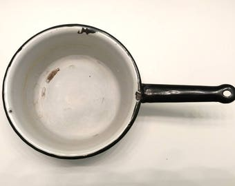 Enamelware Small Pan / Enamelware / White Enamelware / Vintage Pan / Farmhouse Pan