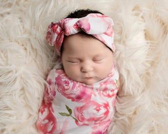 Knit Swaddle Blanket, Knot Headband, Headband Swaddle Set, Pink Floral Baby Blanket, Swaddling Blanket, Knit Blanket, Soft Baby Blanket,