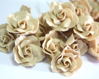 2.5 cm Miniature Nude Roses Handcrafted Clay, set of 10 pieces
