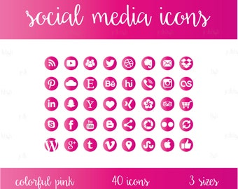 Social Media Icons Set Pink Download