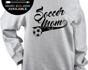Soccer Mom Off Shoulder Raw Edge Sweatshirt - Gym, mothers day gift, soccer gifts, soccer shirt, gift for her, Plus Sizes Available