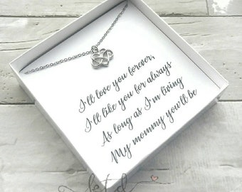 Mother's day gift- heart with infinity necklace- I'll love you forever -mother of the bride gift- sentimental gift for mom- necklace for mom