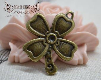 Set of 10 QZW009 charms, Bronze, flowers