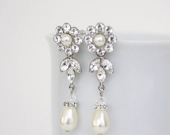 Pearl Bridal Earrings Pearl Drop Wedding Earrings Swarovski Crystal Wedding Jewelry Dangle ,  HAYLEY LUXE