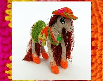 Amigurumi Pattern. Fashion horse Olisia. Crochet Pony pattern. Original knitted toy. Wireframe. Dress and hat. Amigurumis Horse like a doll