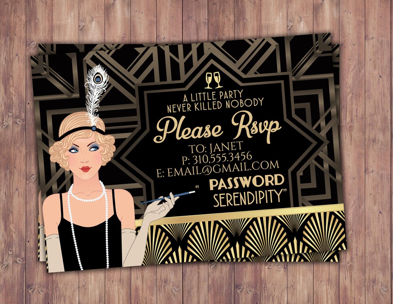 Great Gatsby birthday invitation, RSVP card, Roaring 20\'s, Hollywood ...