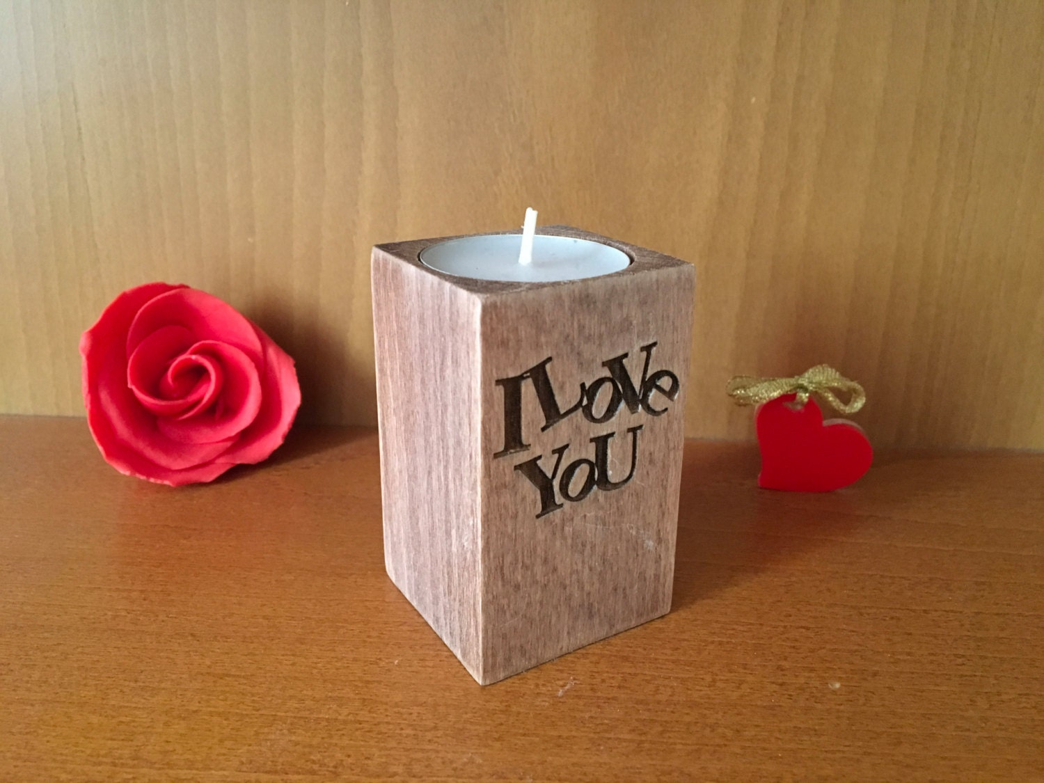 Candle Wedding Gift: Valentines Day Gift For Her Wooden Candle Holder I Love