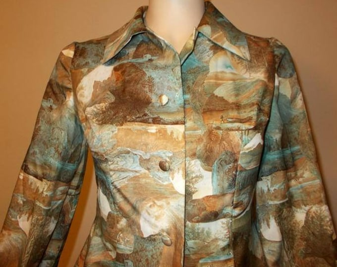 Vintage 70s Yosemite Hunting Pictograph Print Preppy Secretary Brown Blue Polyester Womens Long Sleeve Blouse Shirt Top