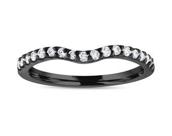Matching Diamond Wedding Band, Vintage Style Curve Anniversary Ring, 14K Black Gold handmade 0.29 Carat