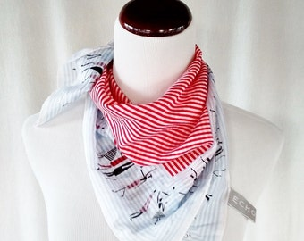 Vintage Echo Red, White and Blue Figures Scarf