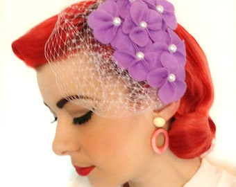 10% off with the code BDAY10  Rockabilly Pin up 1950's 1940's Felt Flower Veil Fascinator