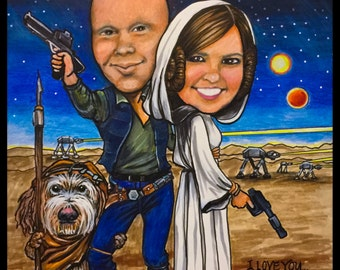 Custom caricature, Star Wars, valentines caricature, couple s caricature, cartoon portrait, retirement gift, anniversary gift, caricatures
