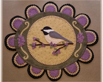 NEW***  My Little Chickadee, Wool Applique Kit, Wool Applique, Penny Rug Kit, Candle Mat Kit, Bird Applique Kit, Embroidery Kit, Penny Rug