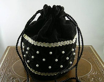 Black Velveteen Quilted Drawstring Purse with Pearls - Renaissance