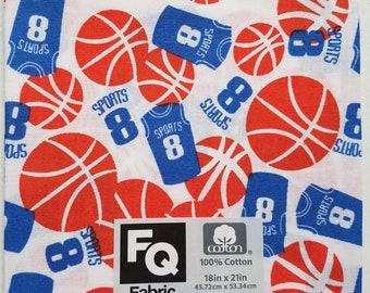 "Fabric Quarters Cotton Fabric 18""- Basketball"