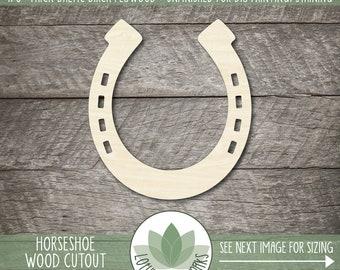 Horseshoe Wood Shape, Wooden Horseshoe Cutout, Blank Wood Shape, Unfinished Wood For DIY Projects, Many Sizes, Wood Lucky Horseshoe Cutout