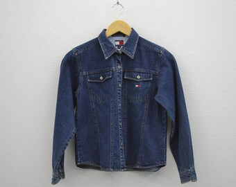 Tommy Hilfiger Jacket Vintage Tommy Hilfiger Denim Jacket Hilfiger Trucker Jacket Kids Size M