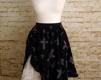 Silver Crucifix Circle Skirt - Alternative, Goth, Silver, Mid-Length, Handmade