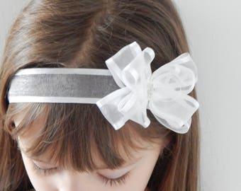 White baby bow for christening, baptism organza bow with cross by Fairy Dust Headbands