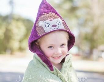 Hedgehog Hooded Towel- Hooded Bath Towel For Baby- Toddler Hooded Beach Towel- Easter Basket Stuffers- Custom Hooded Towels For Kids