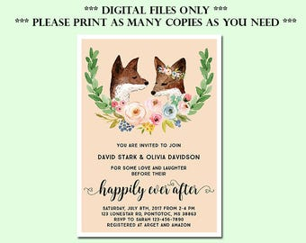 Happily Ever After Invitation, Couples Shower Invitation, Rustic Woodland Couples Shower Invitation, Engagement  Invitation