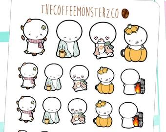 fall emotis - emoti hand drawn planner stickers E168