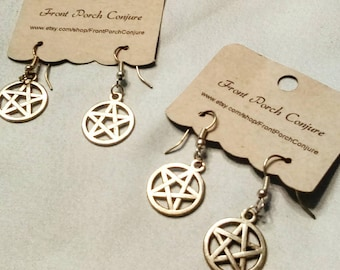Simple Handmade Silver Pentacle Earrings