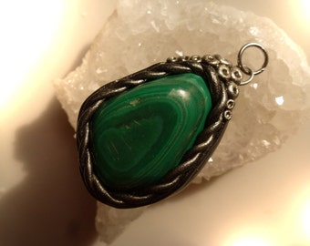 Pendant with malachite, 35 mm, pendant, Polymer clay