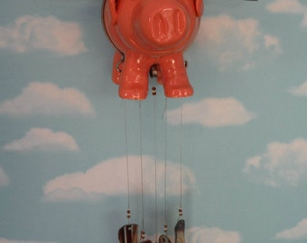 Hysterical Must See Windchime Flying Pig with Bacon Chimes