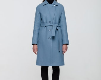 Winter woolen coat semifitted coat  blue limited colour
