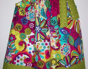 Pillowcase Dress with Flowers Girls Dresses Jewel Tones Floral Dresses baby dresses toddler dresses Colorful Clothes Girls Spring Dresses